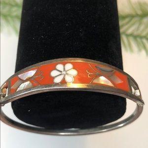 Vintage enamel orange butterfly flower bracelet